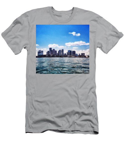 Boston Skyline From Boston Harbor  Men's T-Shirt (Athletic Fit)
