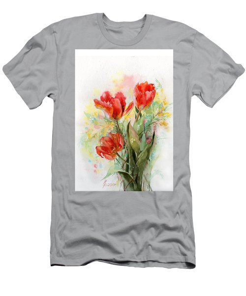 Bouquet Of Red Tulips Men's T-Shirt (Athletic Fit)
