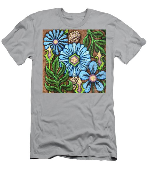 Brown And Blue Floral 1 Men's T-Shirt (Athletic Fit)