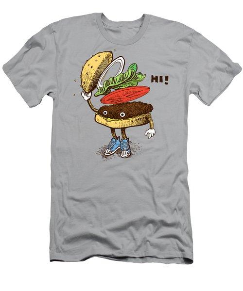Burger Greeting Men's T-Shirt (Athletic Fit)