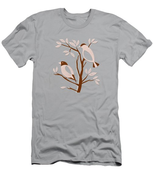 Burnt Orange Mid Century Birds On Branches Men's T-Shirt (Athletic Fit)