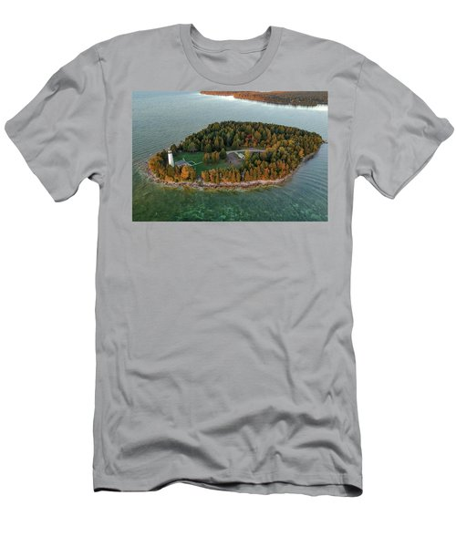 Men's T-Shirt (Athletic Fit) featuring the photograph Cana Island Aerial by Adam Romanowicz