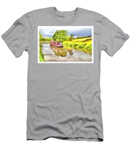Canal Boat On The Leeds To Liverpool Canal Men's T-Shirt (Athletic Fit)