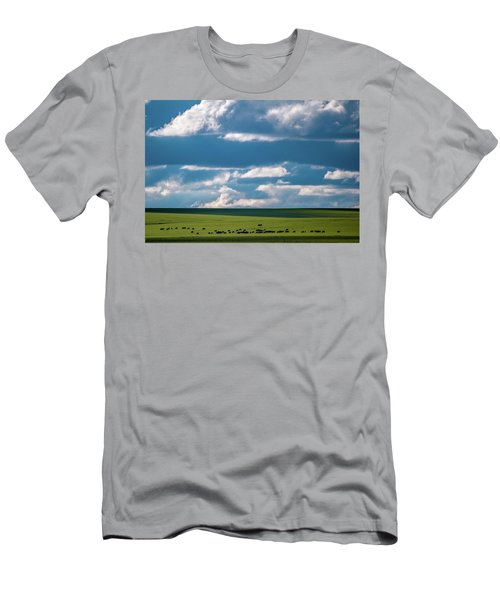 Men's T-Shirt (Athletic Fit) featuring the photograph Cattle On The Flint Hills Prairie by Jeff Phillippi