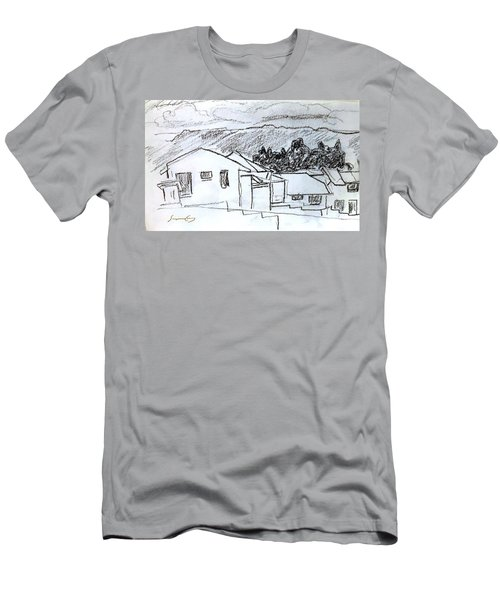 Charcoal Pencil Houses.jpg Men's T-Shirt (Athletic Fit)