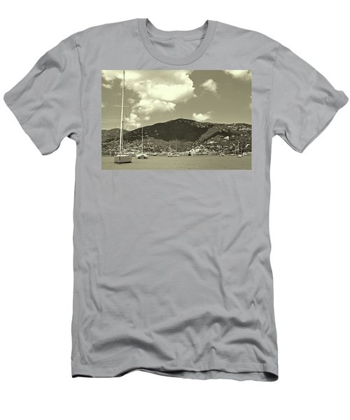Charlotte Amalie Harbor In Sepia Men's T-Shirt (Athletic Fit)