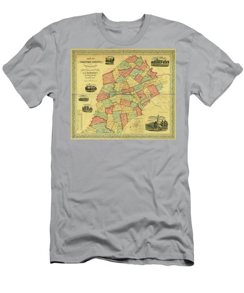 Chester County Pennsylvania Map 1856 Men's T-Shirt (Athletic Fit)