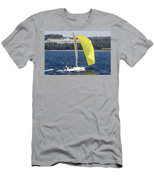 Chicago To Mackinac Yacht Race Sailboat With Grand Hotel Men's T-Shirt (Athletic Fit)