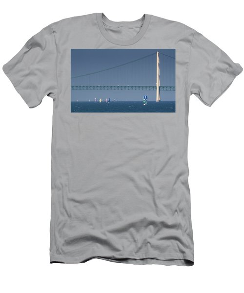 Chicago To Mackinac Yacht Race Sailboats With Mackinac Bridge Men's T-Shirt (Athletic Fit)