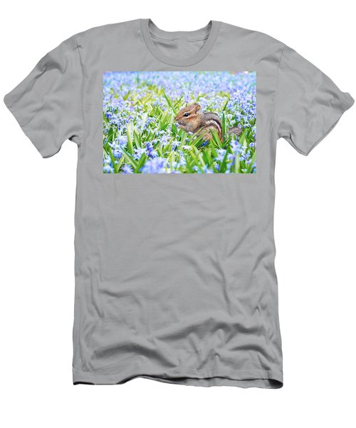 Chipmunk On Flowers Men's T-Shirt (Athletic Fit)