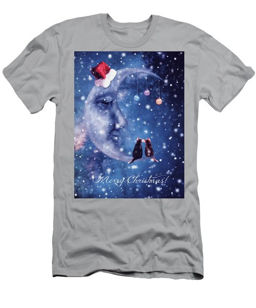 Christmas Card With Smiling Moon And Cats Men's T-Shirt (Athletic Fit)