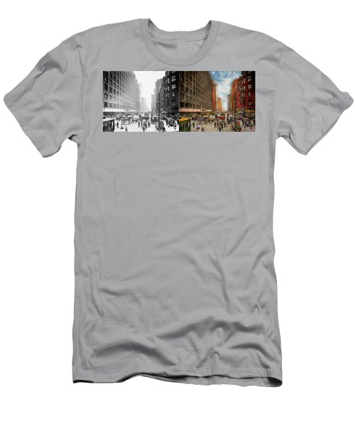 Men's T-Shirt (Athletic Fit) featuring the photograph City - Chicago Il - Marshall Fields Company 1911 - Side By Side by Mike Savad