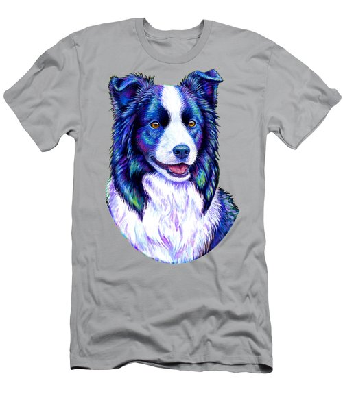 Colorful Border Collie Dog Men's T-Shirt (Athletic Fit)