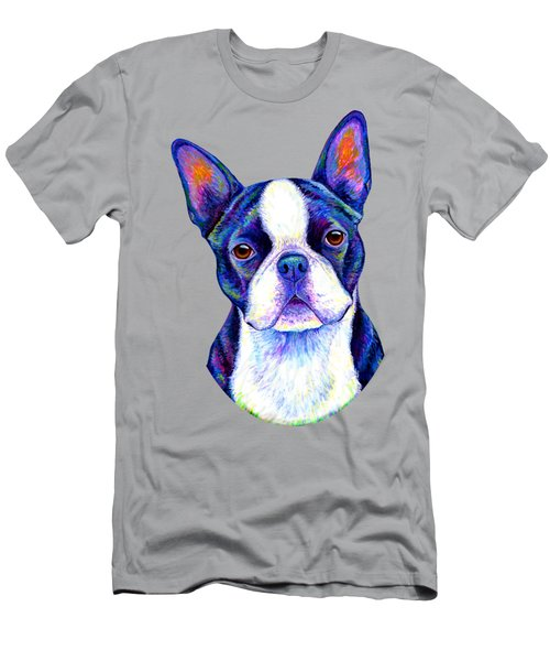 Colorful Boston Terrier Dog Men's T-Shirt (Athletic Fit)