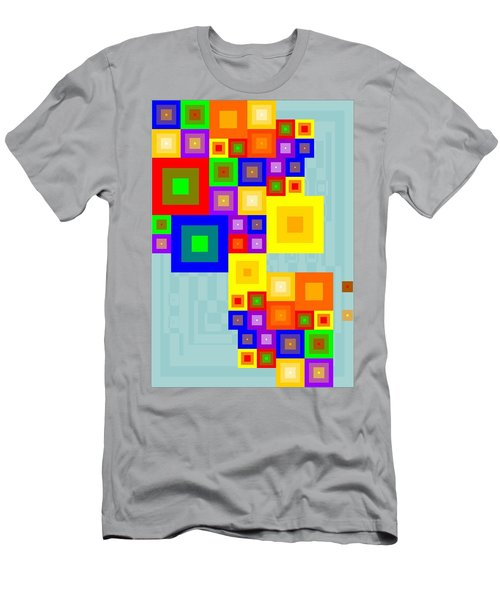 Men's T-Shirt (Athletic Fit) featuring the painting Colourful Cubism  by Arttantra