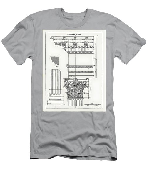 Men's T-Shirt (Athletic Fit) featuring the drawing Corinthian Architecture by James Fannin