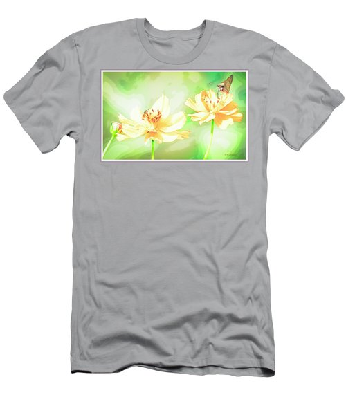 Cosmos Flowers, Bud, Butterfly, Digital Painting Men's T-Shirt (Athletic Fit)