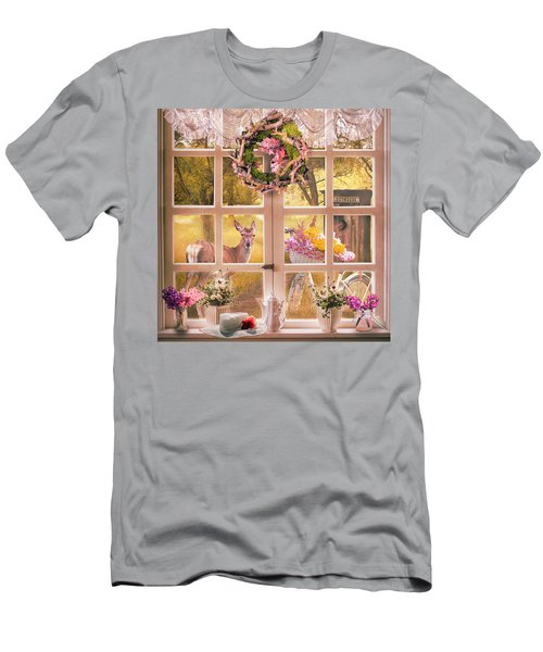 Country Cottage At Sunrise Men's T-Shirt (Athletic Fit)