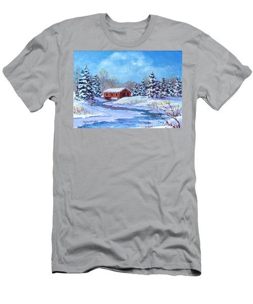 Covered Bridge Sketch Men's T-Shirt (Athletic Fit)