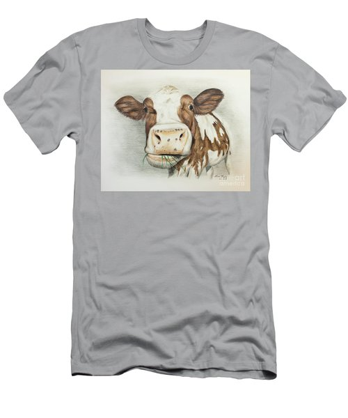 Cow Eating Breakfast Men's T-Shirt (Athletic Fit)