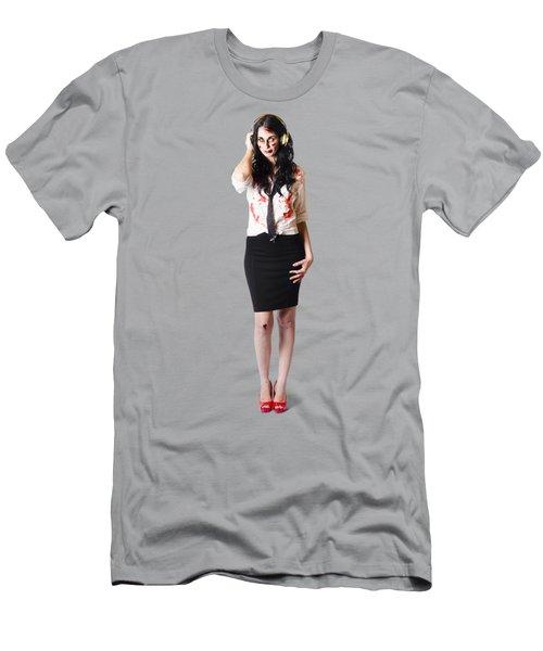 Creepy Female Zombie With Headphones Men's T-Shirt (Athletic Fit)