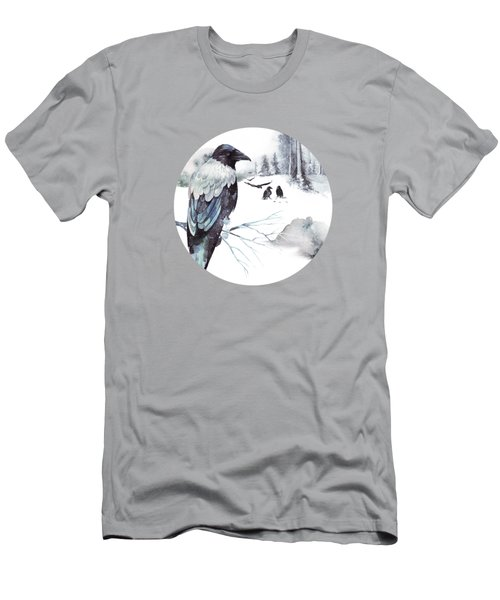 Cryptical Crows In The Whispering Winter Woods Men's T-Shirt (Athletic Fit)