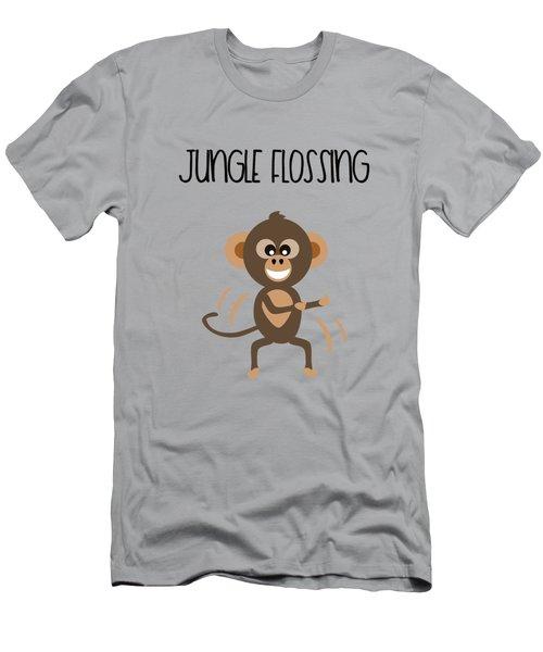 Cute Animal Monkey Jungle Flossing  Men's T-Shirt (Athletic Fit)