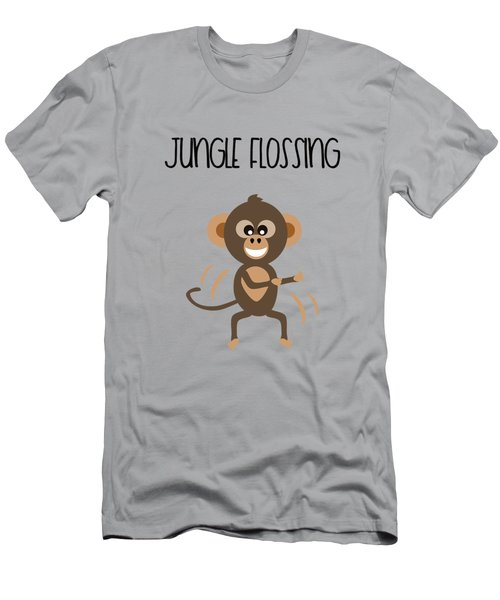 Cute Animal Monkey Jungle Flossing  Men's T-Shirt (Athletic Fit)