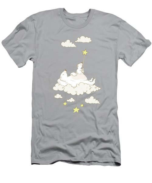 Cute Polar Bears On Cloud Whimsical Art For Kids Men's T-Shirt (Athletic Fit)