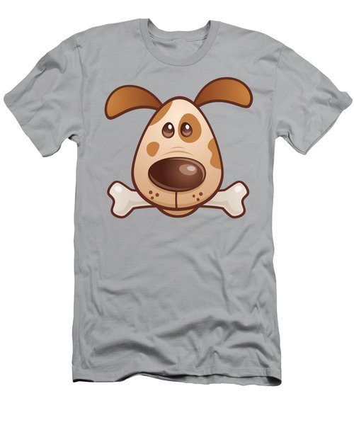 Cute Puppy With Bone Men's T-Shirt (Athletic Fit)