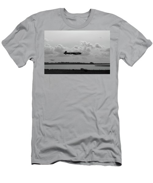 Men's T-Shirt (Athletic Fit) featuring the photograph Dambusters Lancasters At Abberton Bw Version by Gary Eason