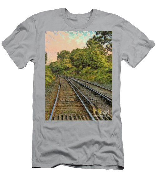 Men's T-Shirt (Athletic Fit) featuring the photograph Down The Track by Leigh Kemp