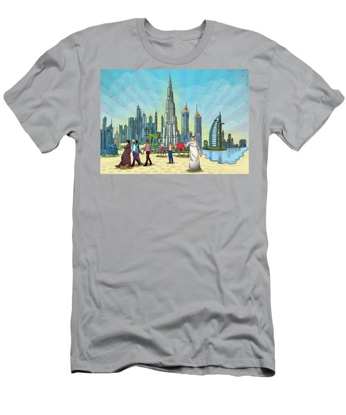 Men's T-Shirt (Athletic Fit) featuring the painting Dubai Illustration  by Arttantra