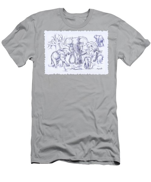 Elephant And Cattle Egrets Sketches Men's T-Shirt (Athletic Fit)