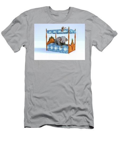 Elephant And Miss Kitty Peek A Boo Men's T-Shirt (Athletic Fit)