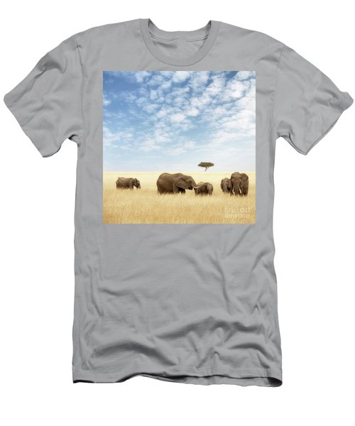 Elephant Group In The Grassland Of The Masai Mara Men's T-Shirt (Athletic Fit)