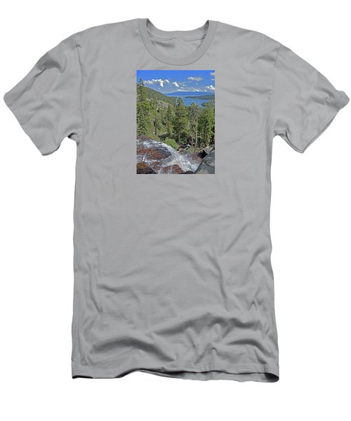 Men's T-Shirt (Athletic Fit) featuring the photograph Falls Above Emerald Cove by Lynda Lehmann