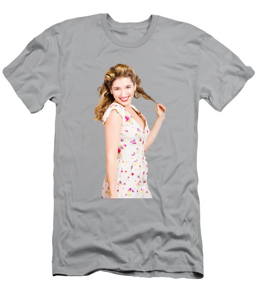 Female Model With Perfect Skin And Curly Hairstyle Men's T-Shirt (Athletic Fit)