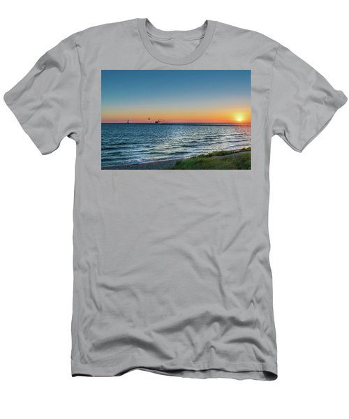 Ferry Going Into Sunset Men's T-Shirt (Athletic Fit)