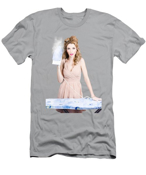 Fifties Housewife Woman Ironing Clothes Men's T-Shirt (Athletic Fit)