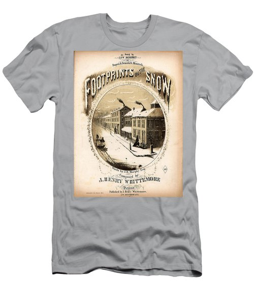 Footprints On The Snow, 1866 Music Sheet Cover Page Men's T-Shirt (Athletic Fit)