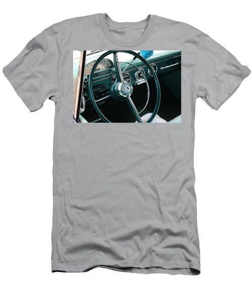 Men's T-Shirt (Athletic Fit) featuring the photograph 1955 Ford Fairlane Steering Wheel by Debi Dalio