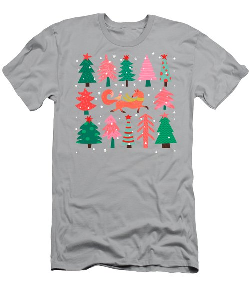 Fox And Bird In A Christmas Tree Winter Wonderland Men's T-Shirt (Athletic Fit)