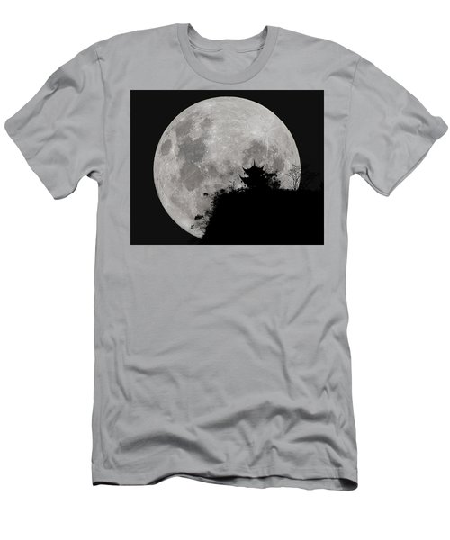 Men's T-Shirt (Athletic Fit) featuring the photograph Full Moon Behind Clifftop Gazebo In Chengdu China by William Dickman