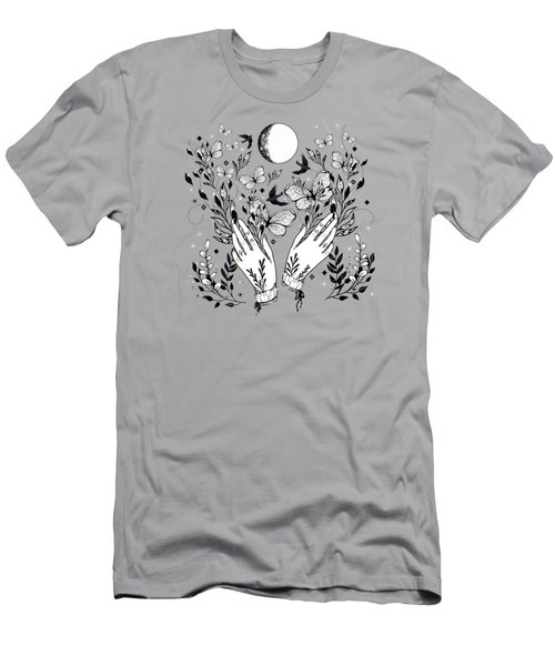 Full Moon Magic Of Nature With Blackbirds And Butterflies Men's T-Shirt (Athletic Fit)