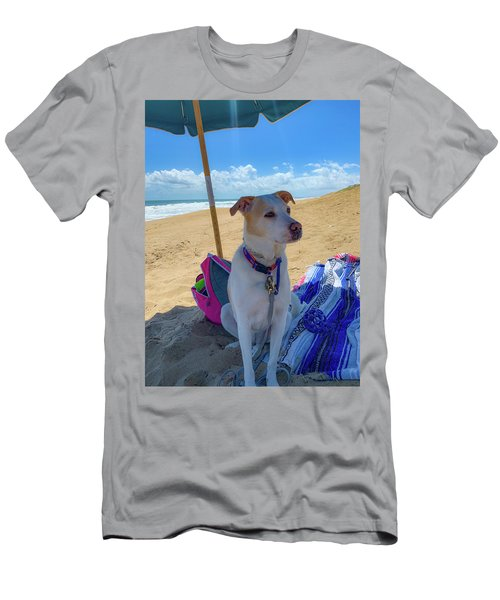 Men's T-Shirt (Athletic Fit) featuring the photograph Fun Doggie Day At The Beach by Lora J Wilson