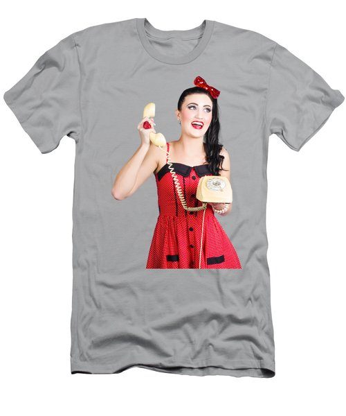 Funny Pin-up Woman Talking On Retro Phone Men's T-Shirt (Athletic Fit)