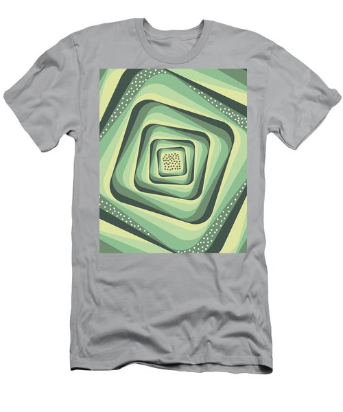 Geometric Abstract Pattern - Retro Pattern - Spiral 3 - Grey, Cream, Teal, Slate Men's T-Shirt (Athletic Fit)