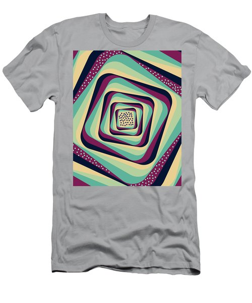 Geometric Abstract Pattern - Retro Pattern - Spiral 1 - Blue, Violet, Wheat, Beige Men's T-Shirt (Athletic Fit)