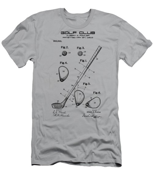 Men's T-Shirt (Athletic Fit) featuring the photograph Golf Club Patent Drawing From 1910 On Vintage Background by David Millenheft